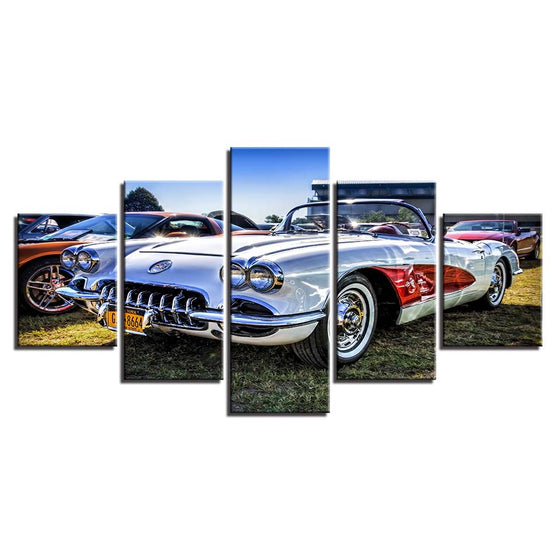 1959 1960 Chevrolet Chevy Corvette Red White Show Wall Art Canvas Panel Print