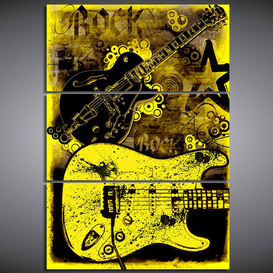 3 Panel  Abstract Rock Guitar Graffiti Yellow Modern Panel Group Print On Canvas
