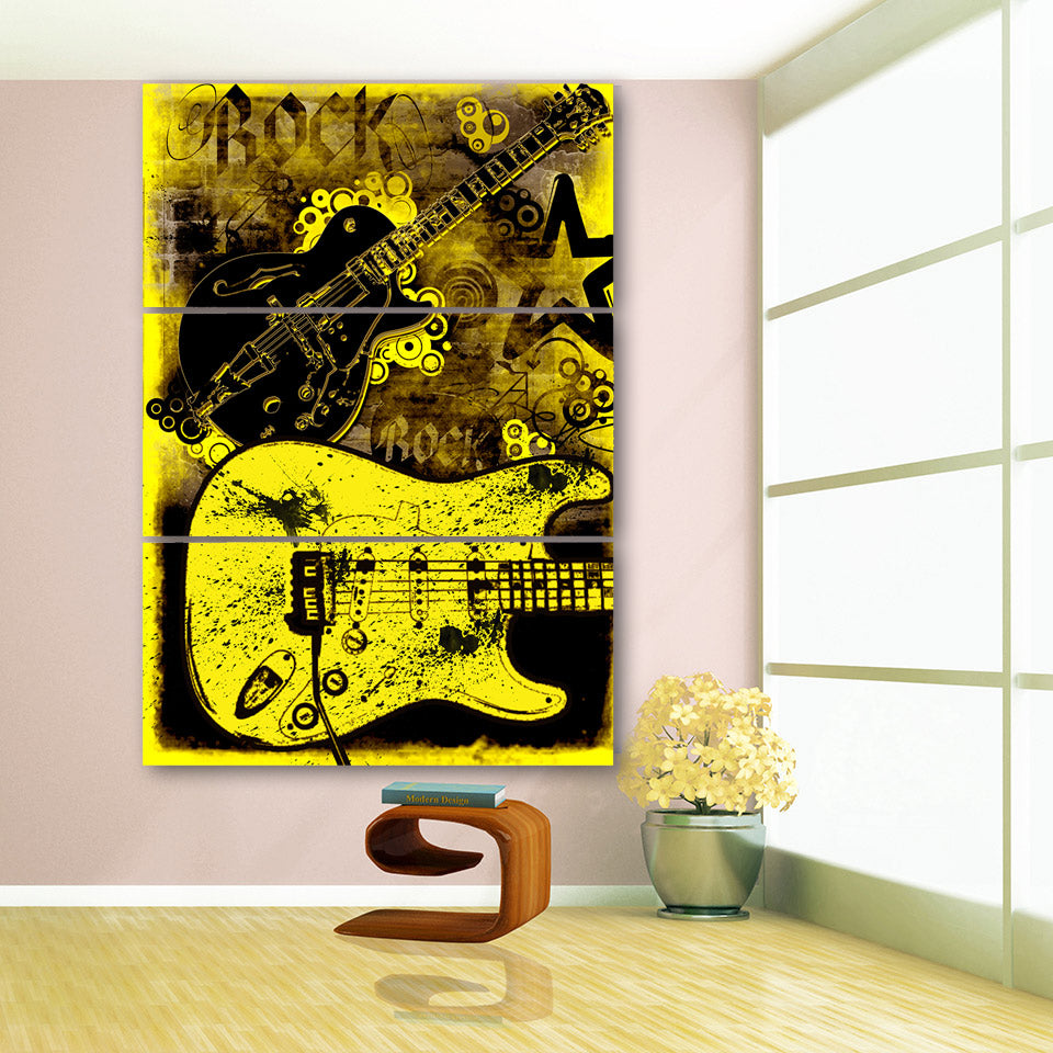 3 Panel Abstract Rock Guitar Graffiti Yellow Modern Panel Group ...