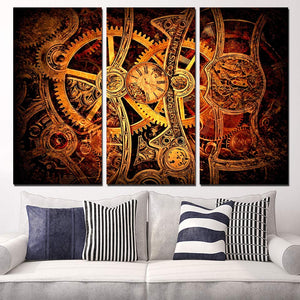 3 Panel Canvas Art Clockwork Fine Watch Gears Colored Wall Art Panel Paint : cheap canvas prints wall paintings pictures