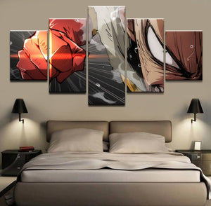 5 Pieces Panels Anime One Punch Man Wall Art Canvas Print Picture : cheap canvas prints wall paintings pictures