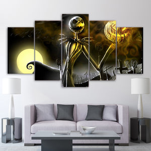 5 Piece Canvas art  nightmare before Christmas Halloween Canvas Wall Print Poste - ASH Wall Decor - Wall Art Canvas Panel Print Painting