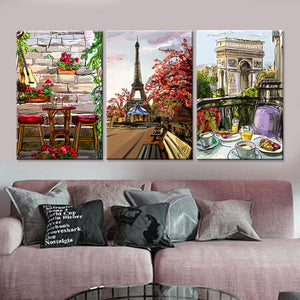Frame Canvas Wall Art Home Decor 3 Panel Paris City Sketch Style For Living Room - ASH Wall Decor - Wall Art Canvas Panel Print Painting
