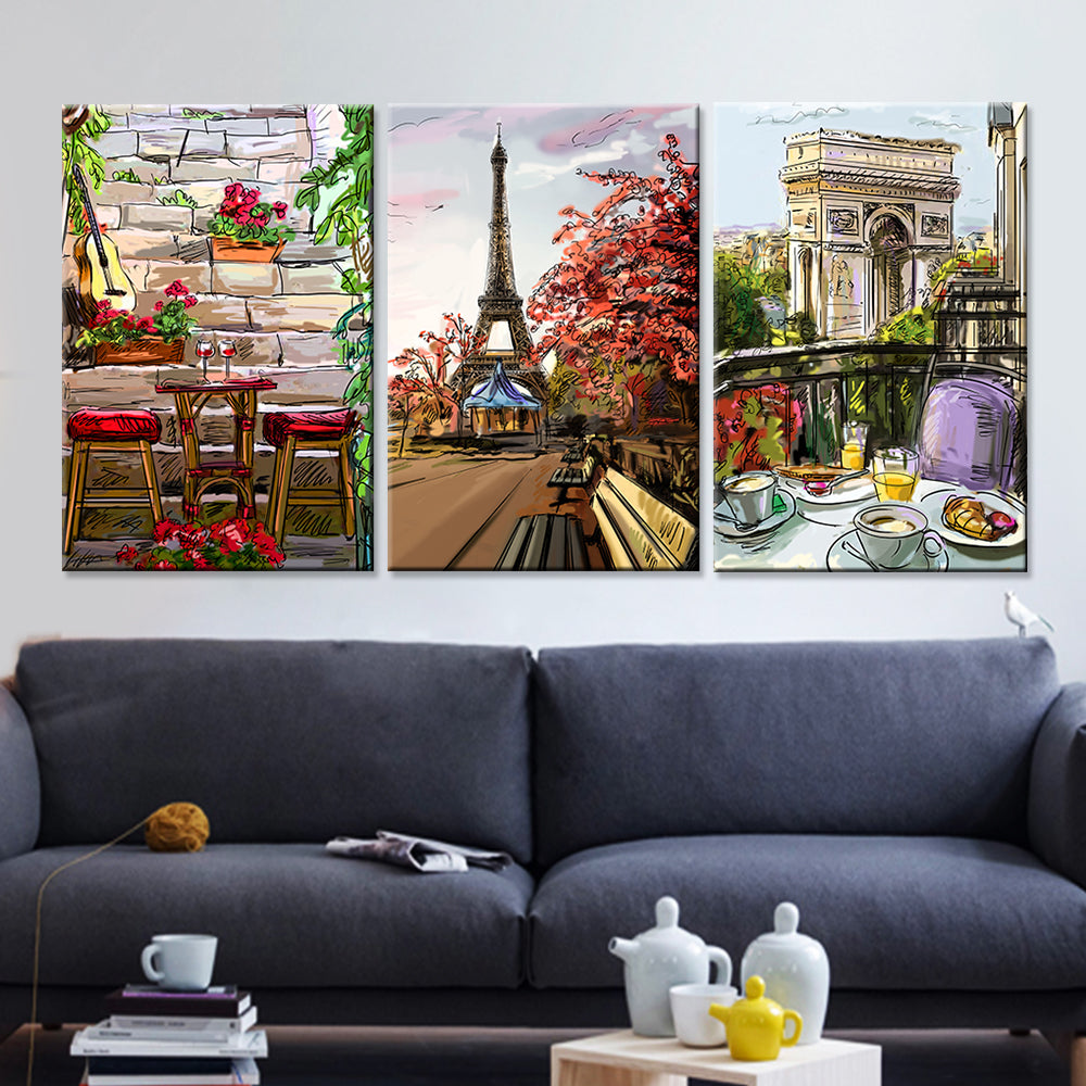 Frame Canvas Wall Art Home Decor 3 Panel Paris City Sketch Style For ...