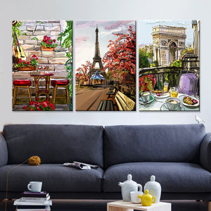 Frame Canvas Wall Art Home Decor 3 Panel Paris City Sketch Style For Living Room : cheap canvas prints wall paintings pictures