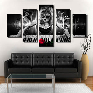 5 Pieces Day Of The Dead Face Piano Rose Wall Art Canvas Panel Print Poster - ASH Wall Decor - Wall Art Canvas Panel Print Painting
