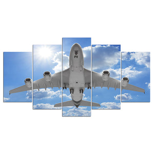 Jet Airplane taking off landing in Blue Sky Poster canvas panel wall print : cheap canvas prints wall paintings pictures