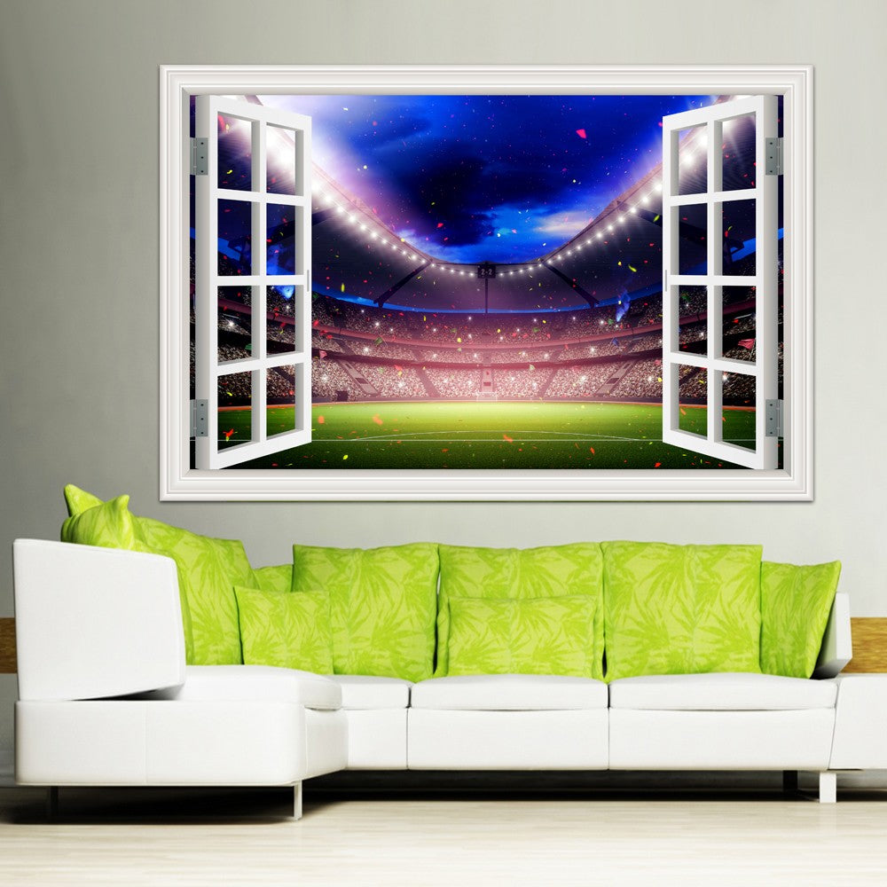 3D Wall Stickers Home Decor Football Ball Soccer Stadium Wallpaper Cheap Canvas Prints Paintings