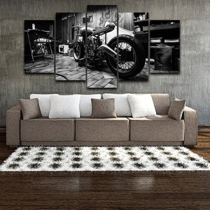 5 Panel Bobber Motorcycle Black & White Wall Art Canvas Panel Home Decor Print : cheap canvas prints wall paintings pictures