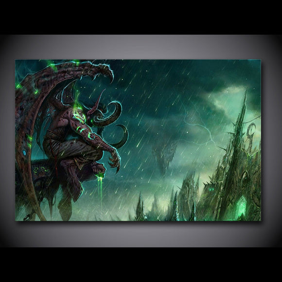 Demon Hunter Warcraft Video Game Wall Art Canvas Panel Print Single Panel