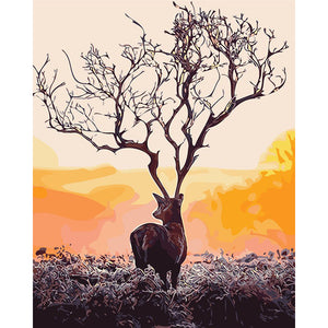 Deer Tree Antlers DIY Hand Painting By Numbers Paint By Numbers Oil Painting : cheap canvas prints wall paintings pictures