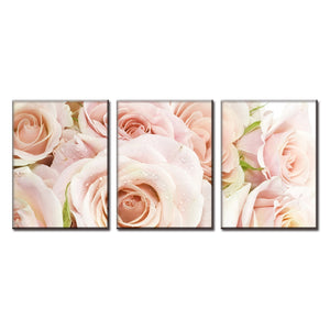 Light Pink Roses Flowers Home Wall Decor Panel Canvas Print Framed UNframed - ASH Wall Decor - Wall Art Canvas Panel Print Painting