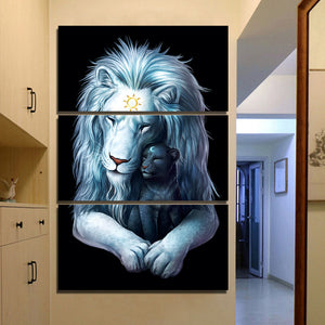 3 Pcs Child of Light Black by JoJoesArt 3 piece canvas art print Lion Lions wall : cheap canvas prints wall paintings pictures