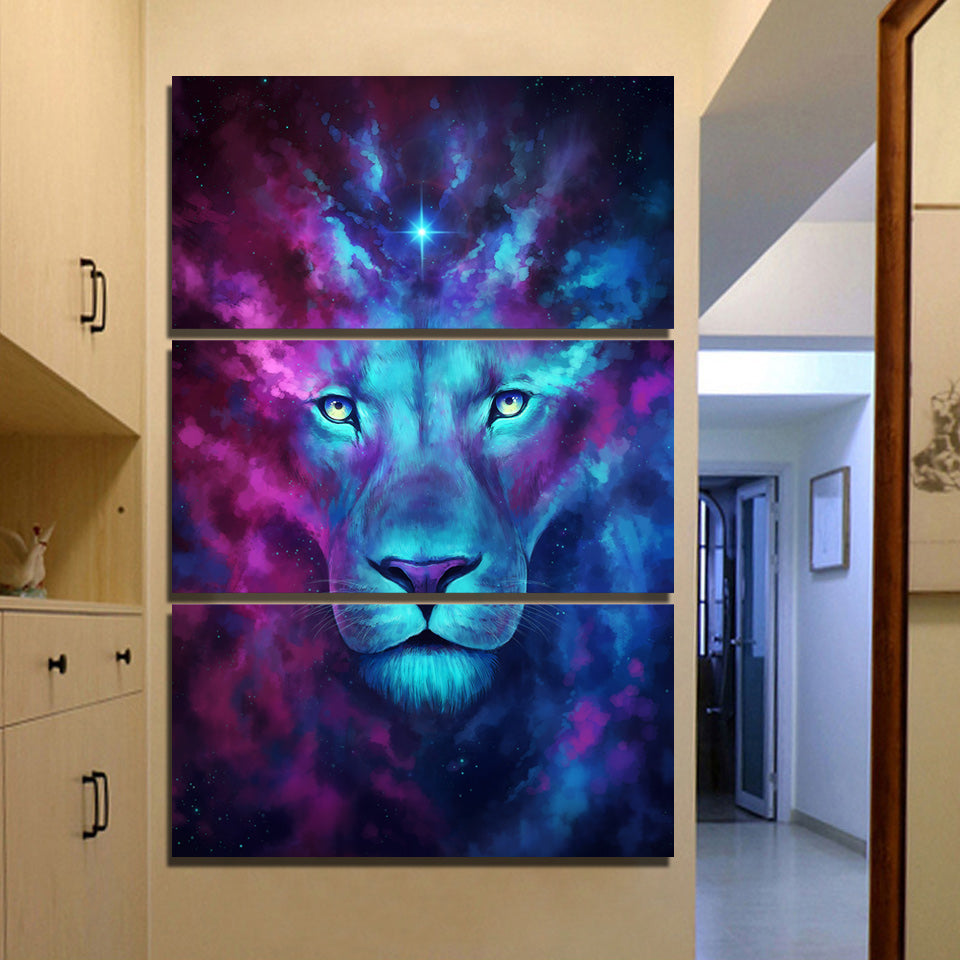 ... Firstborn By JoJoesArt 3 Piece Canvas Art Psychedelic Lion Home Decor  Wall Pictu   ASH Wall ...