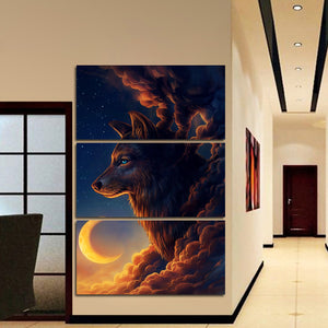 Night Guardian by JoJoesArt 3 piece canvas art Wolf and the new Moonwall Picture : cheap canvas prints wall paintings pictures