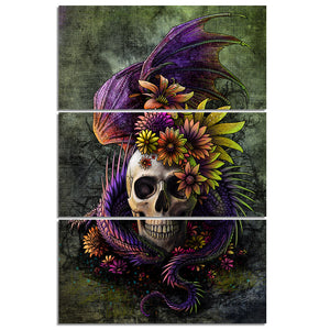 HD print 3 piece vertical panel canvas art picture Flowery Skull by Sunima-Myste : cheap canvas prints wall paintings pictures