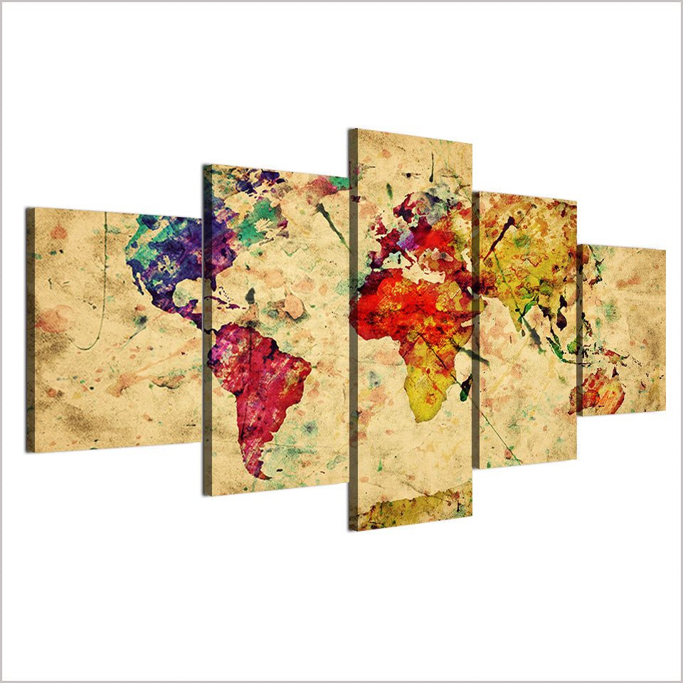 Vintage World Map 5 Panel Print Picture for Living Room Framed ...