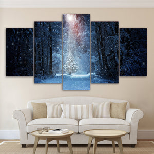 Winter Scene Snow in Forest - beam of light the lone tree home decor canvas pict : cheap canvas prints wall paintings pictures