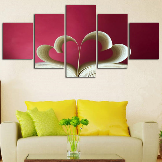 Valentines Day Love Hearts Book Living Room HD Canvas Panel Wall Art - ASH Wall Decor - Wall Art Canvas Panel Print Painting