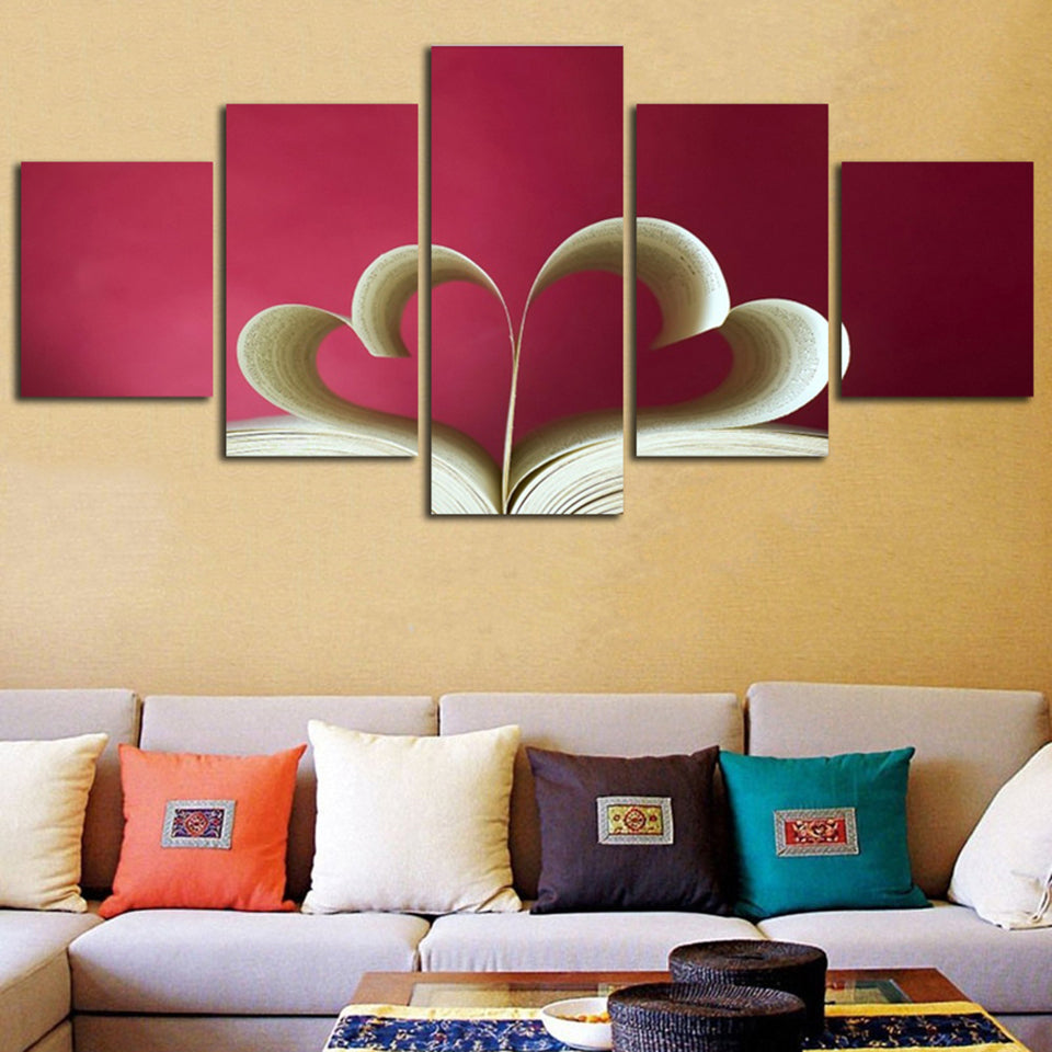 Valentines Day Love Hearts Book Living Room HD Canvas Panel Wall Art ...
