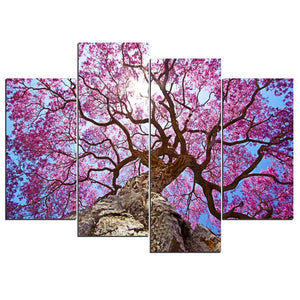4 Piece Canvas Art Pink Forest Tall Tree Canvas Panel Print Framed UNframed : cheap canvas prints wall paintings pictures