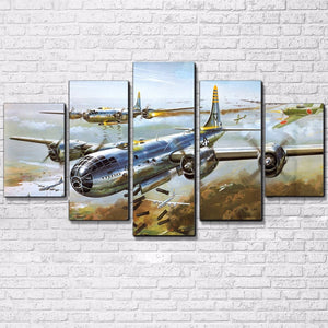 5 Pieces Military Airplane Jet Aircraft Pictures Vintage Air Plane Canvas : cheap canvas prints wall paintings pictures