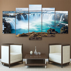 Waterfalls Falls Landscape 5 Panel Wall Picture Print for Living Room : cheap canvas prints wall paintings pictures