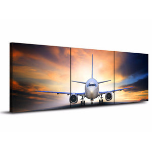 3 piece canvas art jet airplane take off landing at sunset canvas panel print : cheap canvas prints wall paintings pictures