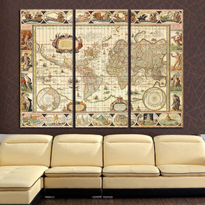 3 Panel World Map Home Wall Decor Canvas Picture Art Print On Canvas for Room : cheap canvas prints wall paintings pictures