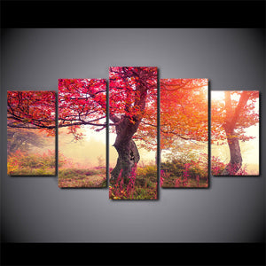 Fall Season Autumn Trees Tree Sunrise Forest Modern Canvas Wall Art Print Pictur : cheap canvas prints wall paintings pictures