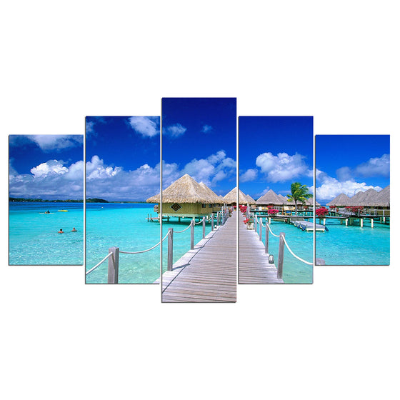 Island Beach Dock Resort Hut Modular Canvas Wall Print Picture for Living Room - ASH Wall Decor - Wall Art Canvas Panel Print Painting