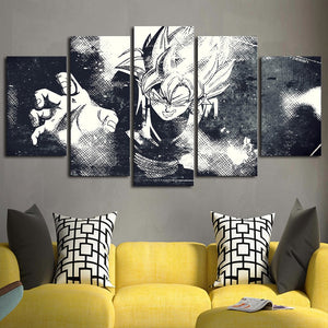 5 Pcs Black White Dragon Ball Home Canvas Wall Art Panel Print : cheap canvas prints wall paintings pictures