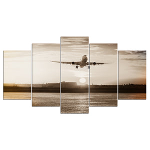Jet Airplane Takeoff at Sunrise Retro Wall Art Canvas Wall Panel Print Picture : cheap canvas prints wall paintings pictures
