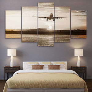 Jet Airplane Landing TakeOff Sunset Sunrise 5 Piece Canvas Art Panel Wall Print : cheap canvas prints wall paintings pictures