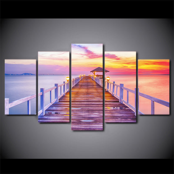 Lake Pier Dock at Sunset Seascape Seaside Canvas Prints Wall Art Panel Picture - ASH Wall Decor - Wall Art Canvas Panel Print Painting