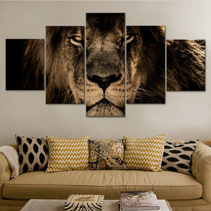 5 Panel Lion Canvas Decor for Living Room Wall Art Canvas Panel Print Picture : cheap canvas prints wall paintings pictures