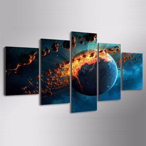 Earth Universe Explosion Spark Wall Art Pictures 5 Panel Wall Picture Print Home : cheap canvas prints wall paintings pictures