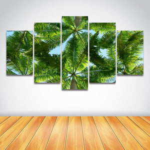 5 Pcs Palm Tree Landscape Beach Modular Panel Print Picture Artwork for Wall Art : cheap canvas prints wall paintings pictures
