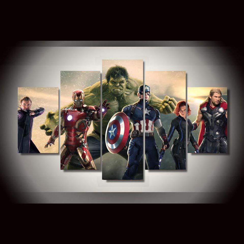 5 Panel Movie Avengers Home Decoration Panel Wall Art On Canvas   ASH Wall  Decor ...