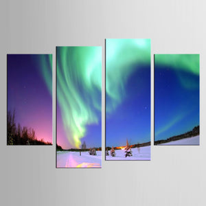 4 Panel Northern Light Canvas Painting Green Aurora Art Modern Framework Decor : cheap canvas prints wall paintings pictures