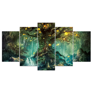 5 Piece Canvas Art Enchanted Tree Scenery Painting Wall Picture Print : cheap canvas prints wall paintings pictures
