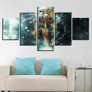 5 Panel Cartoon Animation Dragon Ball Canvas Panel Print For Living Room