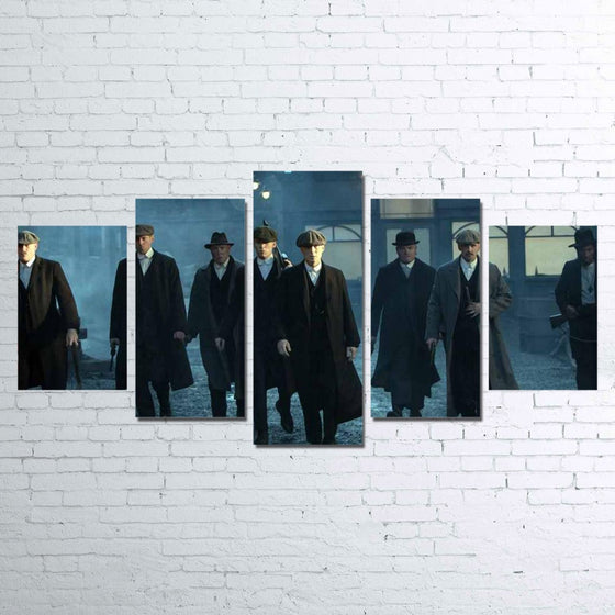 Crime Drama Peaky Blinders 5 Panel Canvas Wall Art Print Poster Framed UNframed
