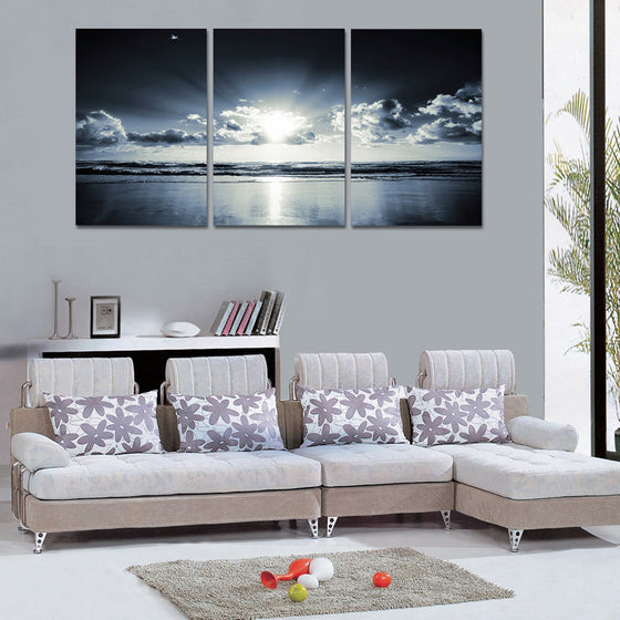 3 Piece Sunrise Sky And Cloud Dawn Wall Art Print Panel Picture Framed UNframed - ASH Wall Decor - Wall Art Canvas Panel Print Painting