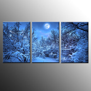 3 Pieces Winter Snow Tree Moonlight Scene Landscape Wall Art Canvas Panel Print : cheap canvas prints wall paintings pictures