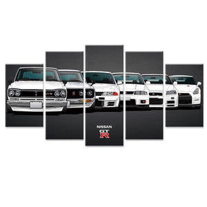 Nissan Skyline 5 Panel GT-R Sports Car Wall Art Canvas Picture Print Poster : cheap canvas prints wall paintings pictures