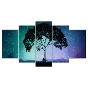 Cosmic Sky Starts Nighttime Tree Person Silhouette Wall Art Canvas Panel Print P : cheap canvas prints wall paintings pictures