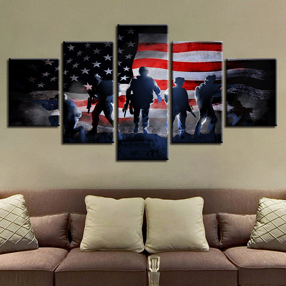 17a2149b1f3 5 Piece Panel US American Flag with Soldiers Military Wall Art Canvas Panel  Art   cheap