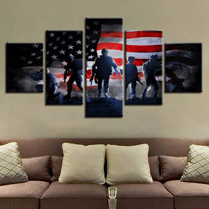 5 Piece Panel US American Flag with Soldiers Military Wall Art Canvas Panel Wall - ASH Wall Decor - Wall Art Canvas Panel Print Painting