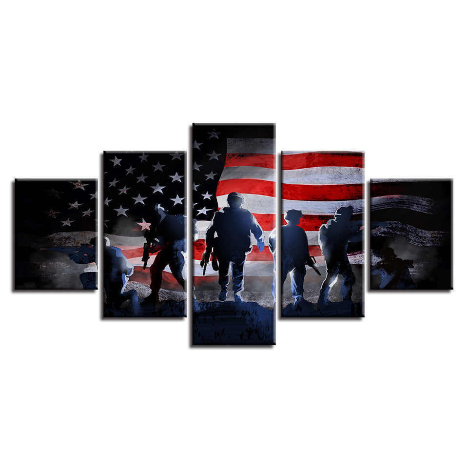 3d4ad4cdadd3 5 Piece Panel US American Flag with Soldiers Military Wall Art Canvas Panel  Art   cheap